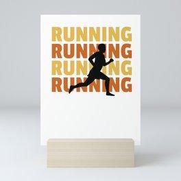 Hipster Style Running design - Runner Silhouette - Runner Tee Mini Art Print