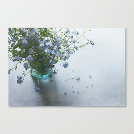 Forget-me-not bouquet in Blue jar Canvas Print