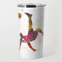 Soccer player isolated 09 in watercolor Travel Mug