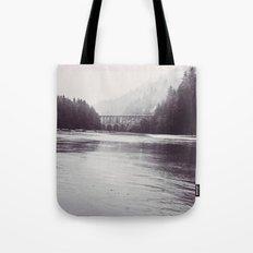 Ocean Sea Water Beach meets Foggy Forest - Heceta Head Cape Creek Bridge Oregon Black and White Tote Bag