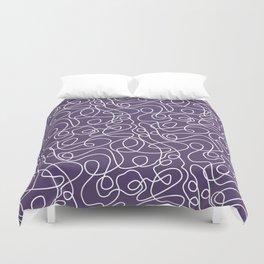Doodle Line Art | White Lines on Dark Purple Duvet Cover