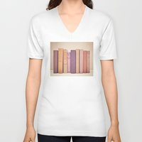 literary V-neck T-shirts featuring Literary Gems II by Laura Ruth