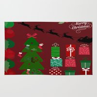 xmas Area & Throw Rugs featuring Xmas by JuniqueStudio