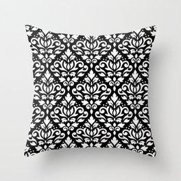 Scroll Damask Pattern White on Black Throw Pillow