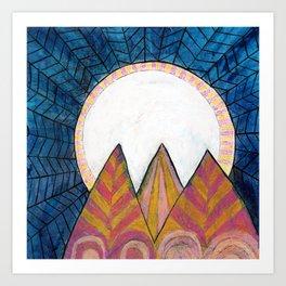 Moon Over Mountains at Dusk Art Print