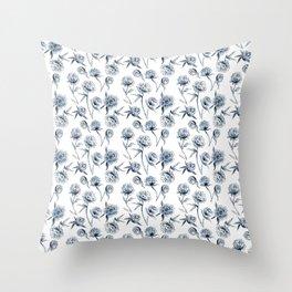 Blue Peonies Throw Pillow