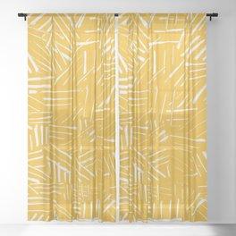 Yellow hatching mudcloth Sheer Curtain
