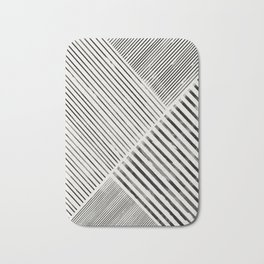 Black and White Stripes, Abstract Bath Mat