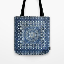 Old Bookshop Magic Mandala in Blue Tote Bag