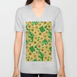 Yellow watercolor petunia flower pattern Unisex V-Neck