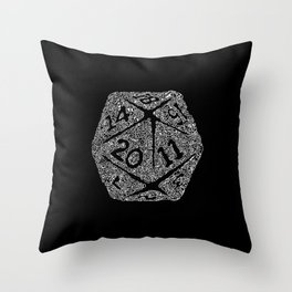 d20 - white on black - icosahedron doodle pattern Throw Pillow