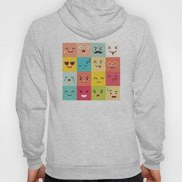 Emoticons vector pattern. Emoji square icons Hoody