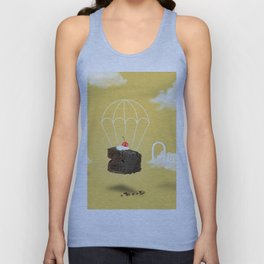 Isolated Chocolate cherry cake with parachute on yellow sky background Unisex Tank Top