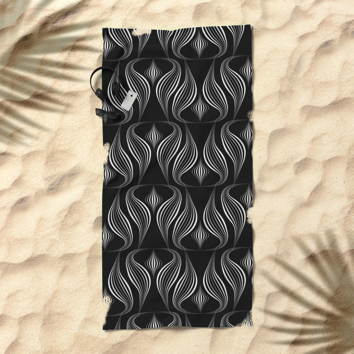 "Art Deco . Black and white pattern ."" Waterfall "". Beach Towel"