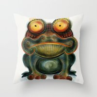 frog Throw Pillows featuring Frog by Riccardo Pertici