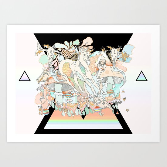 mushrooms & horses Art Print