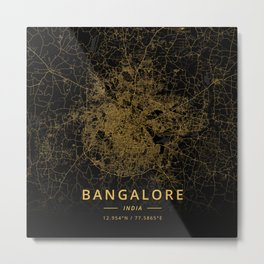 Bangalore, India - Gold Metal Print