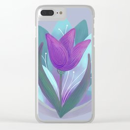 Tulip and Lotus Blossom Clear iPhone Case