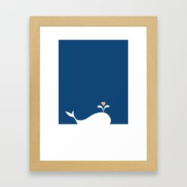 Whale in Blue Ocean with a Love Heart Framed Art Print