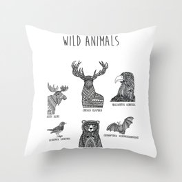 Wild animals in Sweden Throw Pillow