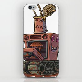 Robot pie thrower iPhone Skin