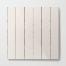 French Cream Linen Stripe Metal Print