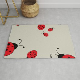 Ladybugs-Beige+Red Rug