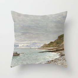 La Pointe de la Hève, Sainte-Adresse by Claude Monet Throw Pillow