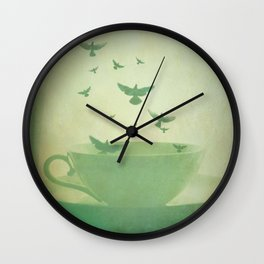 Morning Flight Coffee Tea Bird Flying Dream Surreal Home Kitchen Art Wall Clock