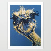ostrich Art Prints featuring ostrich by Theresa Morgan