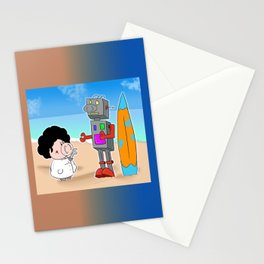 Oinkbot, the world's first surfing robot Stationery Cards