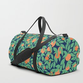 Oranges and Leaves Pattern - Navy Blue Duffle Bag