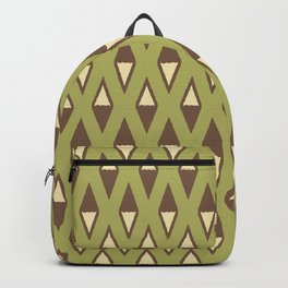 Classic Diamond and Stripes Pattern 240 Olive Green Brown and Beige Backpack