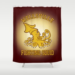 """Wellsville Fighting Squid (Notre Dame/""""Pete and Pete"""" parody) Shower Curtain"""