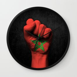 Moroccan Flag on a Raised Clenched Fist Wall Clock