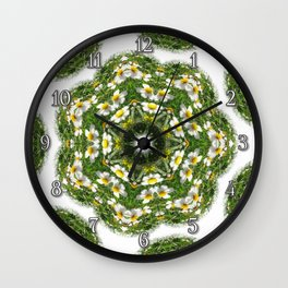 Little White Wildflower Kaleidoscope Art 2 Wall Clock