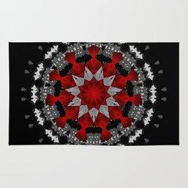 Bright Red Silver Star Flower Mandala Rug