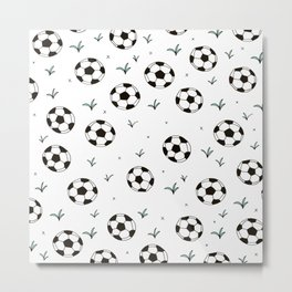 Fun grass and soccer ball sports illustration pattern Metal Print