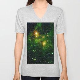 Green Galaxy Space Mist Hubble Telescope Unisex V-Neck