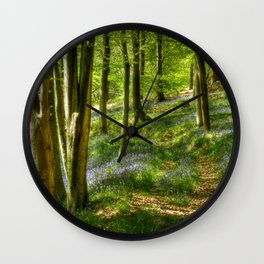 Bluebells and Beech Wall Clock