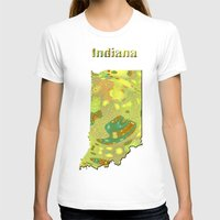 indiana T-shirts featuring Indiana Map by Roger Wedegis