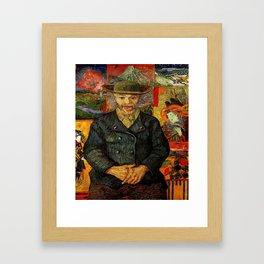 Van Gogh, Portrait of Père Tanguy  – Van Gogh,Vincent Van Gogh,impressionist,post-impressionism,brus Framed Art Print