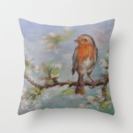 Red Robin Small bird on a blooming twig Wildlife spring scene Pastel drawing Throw Pillow