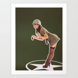 """""""Foxhole"""" - The Playful Pinup - Grenade Military Pin-up by Maxwell H. Johnson Art Print"""