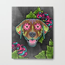 Labrador Retriever - Chocolate Lab - Day of the Dead Sugar Skull Dog Metal Print