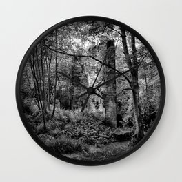 ruined mill in the woods Wall Clock
