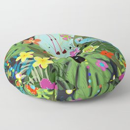 Parrots, Toucan and Flamingo Tropical Birds Tropical Forest Pattern Floor Pillow