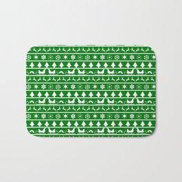 Green & White Nordic Ugly Sweater Christmas Pattern Bath Mat