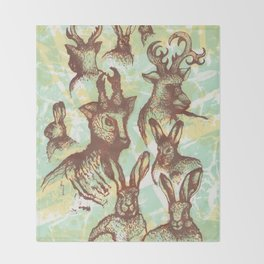Hares and deer in the field Throw Blanket