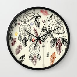 Bohemian print design with hand drawn dreamcatchers and feathers Wall Clock